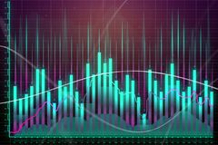Market growth, finance and screen concept. Creative glowing forex chart background. Market growth, finance and screen concept. 3D Rendering Royalty Free Stock Images