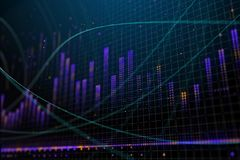 Market growth, finance and stock concept. Creative glowing forex chart background. Market growth, finance and stock concept. 3D Rendering Stock Image