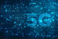 Creative glowing 5G backdrop. Mobile internet concept, 5G internet Connection. Communication Concept, Technology concept royalty free illustration