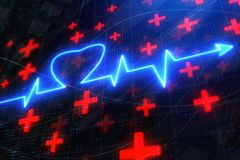 Glowing heartbeat backdrop royalty free illustration