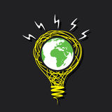 Creative go green earth on sketch bulb concept Stock Images