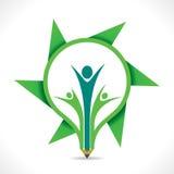 Creative go green message by cartoon member in pencil design Photo libre de droits