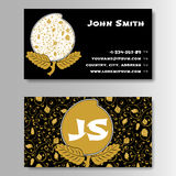 Creative Golden Business Visiting Card with Chinese pattern Stock Photography