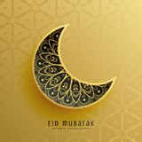 Creative golden eid festival moon decoration background. Illustration Stock Photography