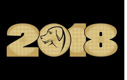 Creative golden text 2018 with dog head Lizenzfreies Stockfoto