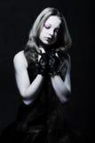 Creative gothic make-up. Creative dark gothic make-up, studio shot on dark background royalty free stock images