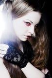 Creative gothic make-up. Creative dark gothic make-up, close-up shot royalty free stock image