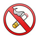 Gradient shaded cartoon of a no smoking allowed sign. A creative gradient shaded cartoon no smoking allowed sign stock illustration