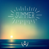 Creative graphic message for your summer design. Vector blurred background Royalty Free Stock Photo