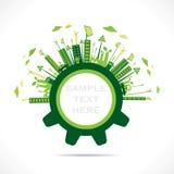 Creative green city design in gear concept Stock Photos