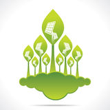 Creative green forest of solar panel Royalty Free Stock Images