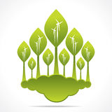 Creative green forest of wind mill design Stock Photos