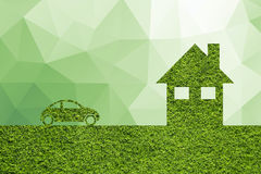 Creative green illustrated eco house and eco car background Stock Photos