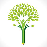 Creative green pencil tree design Stock Image