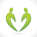 Creative green people symbol design with green leaf Stock Images