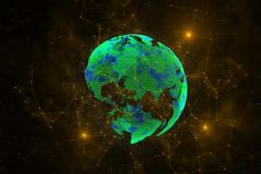 Global business and technology concept. Creative green polygonal globe background. Global business and technology concept. 3D Rendering royalty free illustration