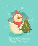 Creative greeting card design with cute snowman Royalty Free Stock Photography