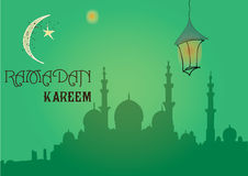 Creative greeting card design for holy month of muslim community festival Ramadan Kareem with moon and hanging lantern Stock Photos
