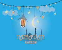 Creative greeting card design for holy month of muslim community festival Ramadan Kareem with moon and hanging lantern Royalty Free Stock Photos