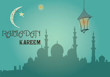 Creative greeting card design for holy month of muslim community festival Ramadan Kareem with moon and hanging lantern Stock Images