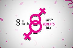 Creative greeting card design for International Women`s Day celebrations on Grey background.  royalty free illustration