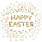 Creative Greeting card Happy Easter. Text Happy Easter made of multicolored sweet candy dragees and decorated colored sprinkles on isolated white background Royalty Free Stock Image