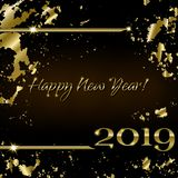 Happy New Year 2019. Creative greeting card Happy New Year 2019 and Christmas on the black background in grunge style. Luxury golden numbers and text. Used as a vector illustration