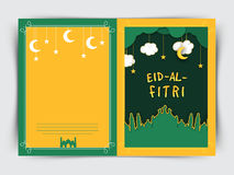 Creative greeting card with mosque for Eid. Royalty Free Stock Photo