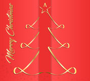 Creative greeting card for New Year and Christmas holidays, on a red background, golden Christmas tree. Vector graphics. Royalty Free Stock Photos