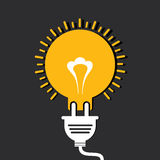 Creative greeting card for new year 2015Innovation idea concept with bulb and plug Royalty Free Stock Image