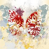 Creative grunge background with butterfly made from swirls and i Royalty Free Stock Photo