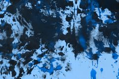 Creative grunge blue randomly painted canvas, fabric with color paint spots and blots texture for use as background stock illustration