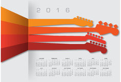 2016 Creative Guitar Calendar. For Print or Web royalty free illustration