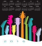 2016 Creative Guitar Calendar. For Print or Web Royalty Free Stock Photo