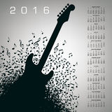 2016 Creative Guitar Calendar. For Print or Web vector illustration