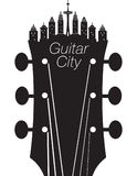 Creative guitar city music background. With a headstock Stock Photo