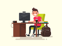 Creative guy in the workplace. Vector illustration. Of a modern flat design Royalty Free Stock Images