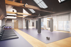 Creative gym interior. Creative new gym interior with equipment, city view and daylight. 3D Rendering. Fitness concept stock illustration