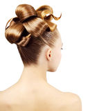 Creative hairstyle. Isolated on white background royalty free stock images