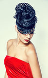 Creative Hairstyle. Backside of Fashion Model with Creative Hairstyle stock photography