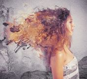 Creative hairstyle. Concept with motion effect stock photo