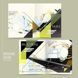 Creative half-fold brochure design. With painting stroke in multicolor Stock Photos