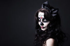 Creative Halloween make up - portrait of witch or monster woman Stock Images
