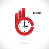 Creative hand and clock shape abstract logo design.Hand Ok symbo Royalty Free Stock Photo