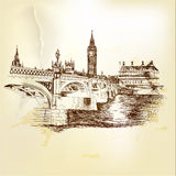 Antique vector postcard with  hand drawn London bridge in sepia Royalty Free Stock Image