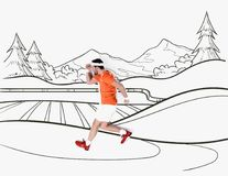 Creative hand drawn collage with with man running by mountains landscape stock photos