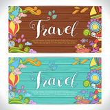 Creative hand-drawn doodle art with summer travel theme Royalty Free Stock Photography