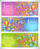 Creative hand-drawn doodle art with summer travel theme. For greeting cards, invitation templates and graphic design Royalty Free Stock Photography