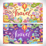 Creative hand-drawn doodle art with summer travel theme. For greeting cards, invitation templates and graphic design Royalty Free Stock Images