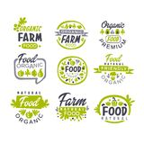 Creative hand drawn gray and green design of organic food logo set. Fresh farm products. Labels for shop or market. Creative hand drawn gray and green design of Royalty Free Stock Photos